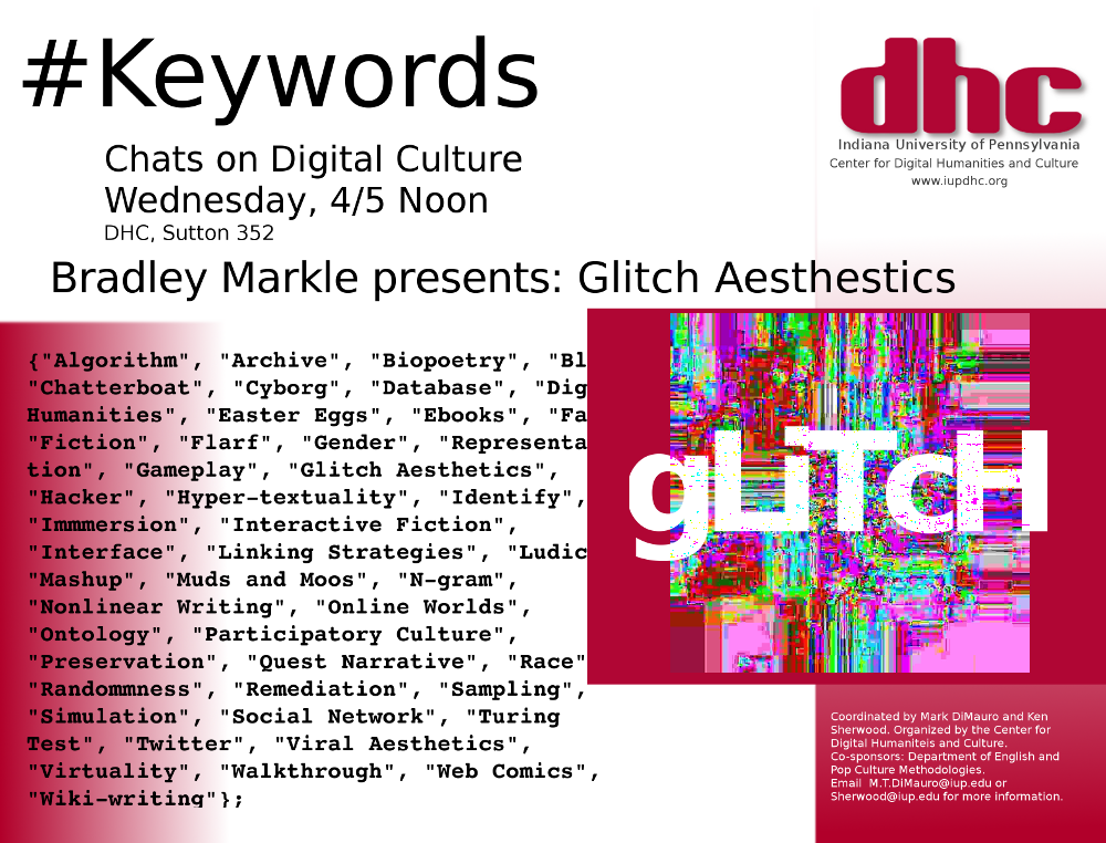 Keywords Chat – Glitch Aesthetics, Weds. 4/5 at Noon